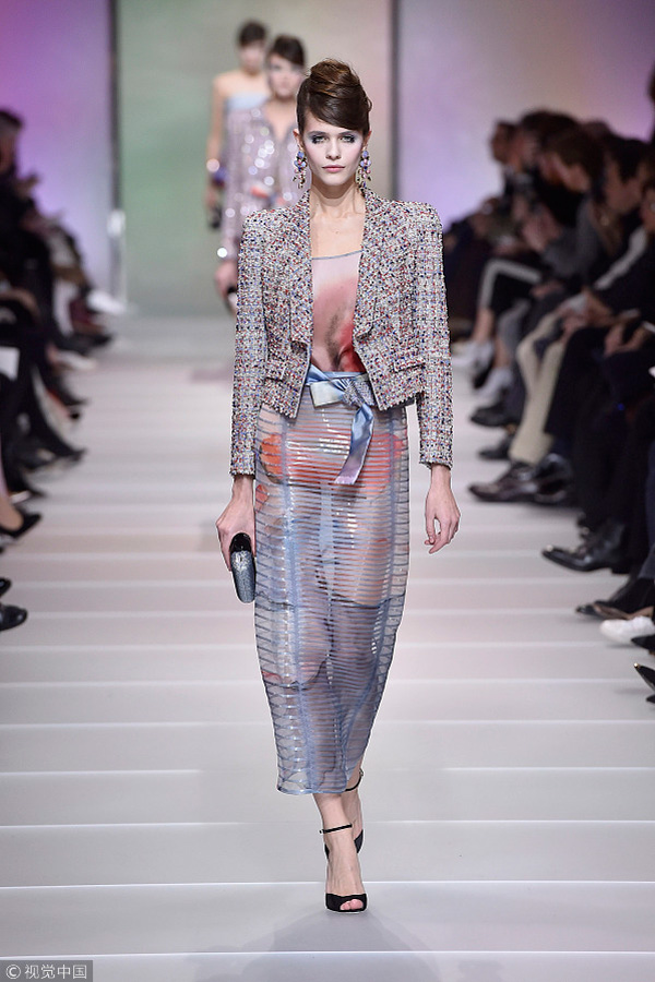 fb152458508 A model walks the runway at the Giorgio Armani Prive Spring Summer 2018  fashion show during Paris Haute Couture Fashion Week on January 23