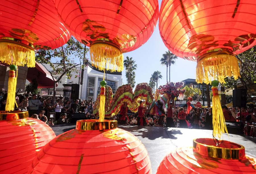 dragon dancers perform during a celebration for chinese lunar new year at the original farmers market in los angeles the united states jan 28 2018 - Chinese New Year Los Angeles