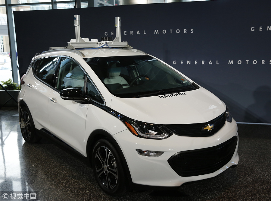 A Chevrolet Bolt Ev Self Driving Test Car Is Displayed During News Conference At Gm S Headquarters In The Renaissance Center Detroit Michigan Dec 15