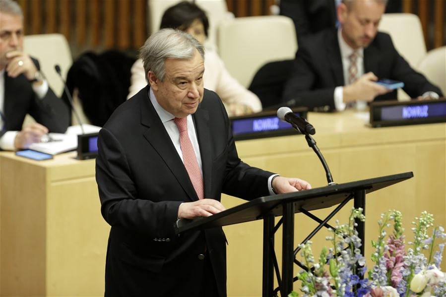 Un chief extends greetings for persian new year world chinadaily un secretary general antonio guterres addresses a special event on the occasion of the nowruz celebration at the un headquarters in new york on march 20 m4hsunfo