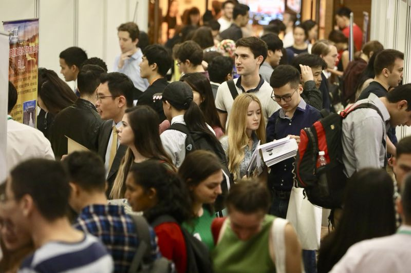 International Students Search For Jobs At The Fifth Career Fair In China Peking University Beijing On May 12 2018