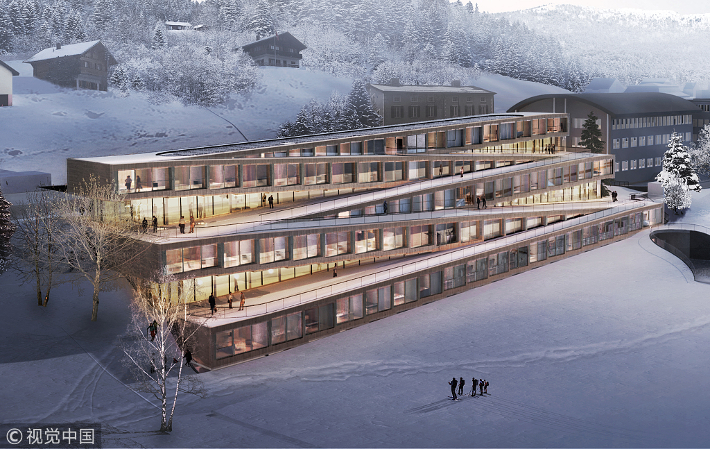 Unusual but true: Swiss hotel lets guests ski down its roof - World