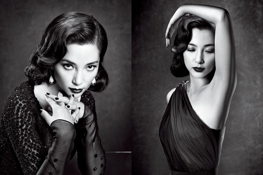Chinese actress li bingbing in black and white photo mtime