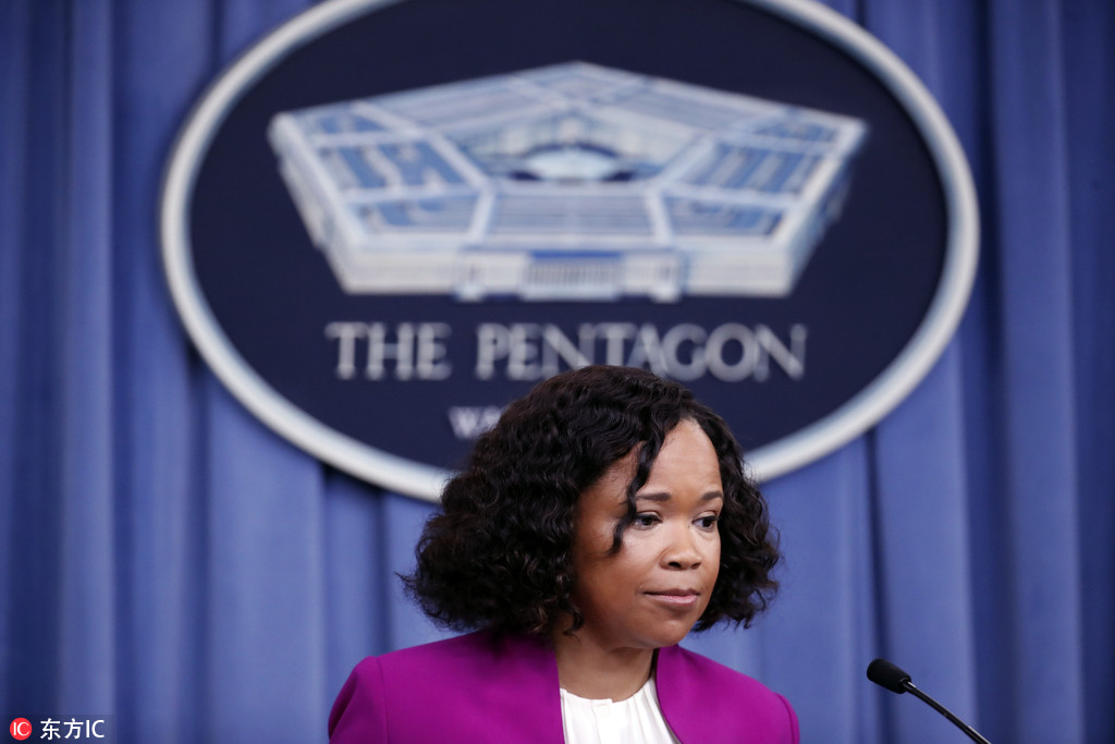 Pentagon chief spokesperson Dana W. White pauses while speaking during a media availability at the Pentagon in Washington