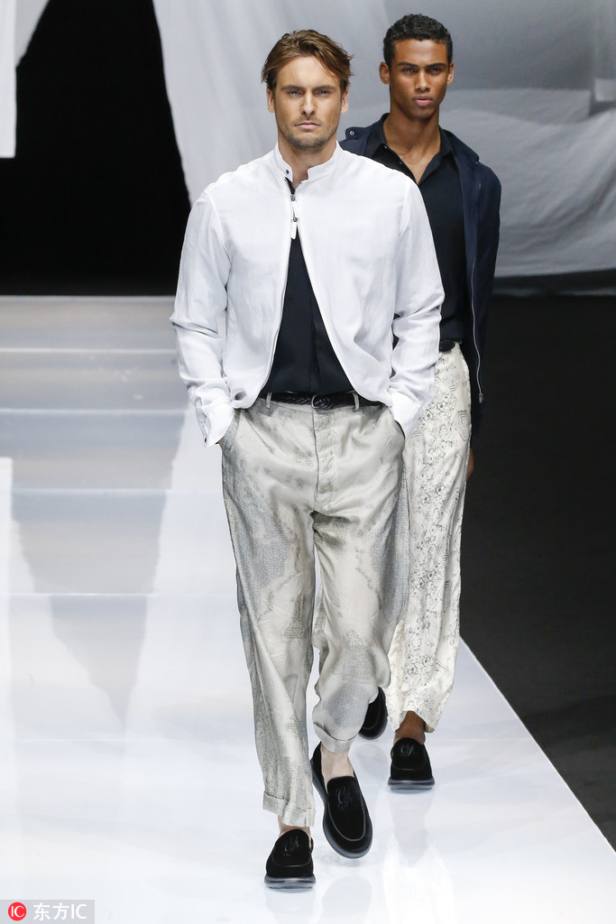 c28d6975f31f A model walks the runway during the Giorgio Armani 251 show as part of the 2019  Spring Summer Milan Men s Fashion Week on June 20