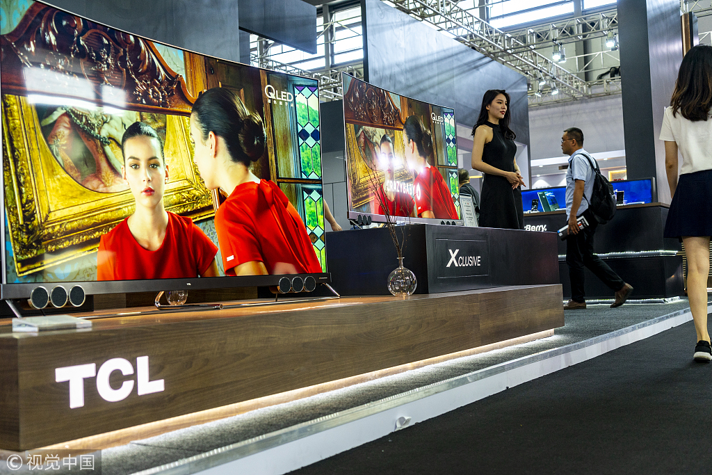 e6cd405b20 TCL televisions on display at the 2018 International Consumer Electronics  Show Asia in Shanghai on June 14