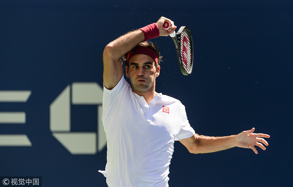 Roger Federer Of Switzerland In Action Against Nick Kyrgios Of Australia In The Third Round Of The Us Open At The Usta Billie Jean King National Tennis