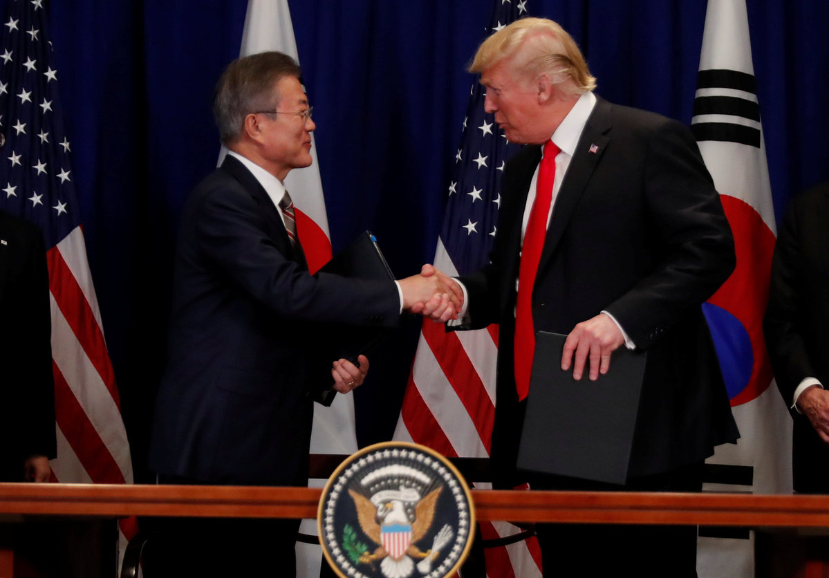 Trump Rok President Sign Free Trade Pact World Chinadaily
