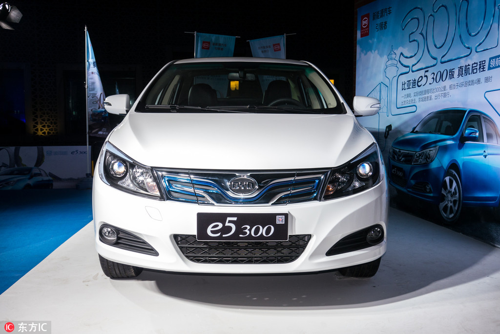 A Byd E5 300 Electric Car On Display During Launch Event In Beijing March 31 2016 Photo Ic