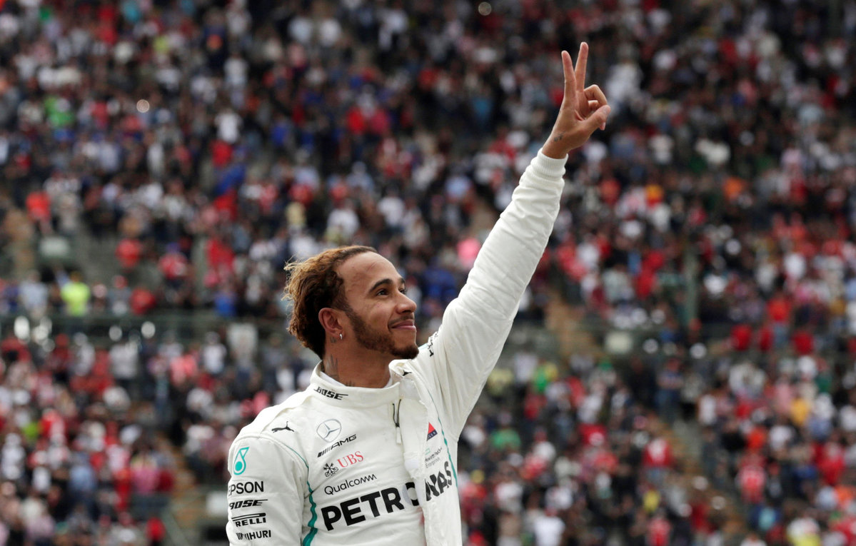 Mercedes Lewis Hamilton celebrates after winning the World Championship in Mexico on Oct 28 2018