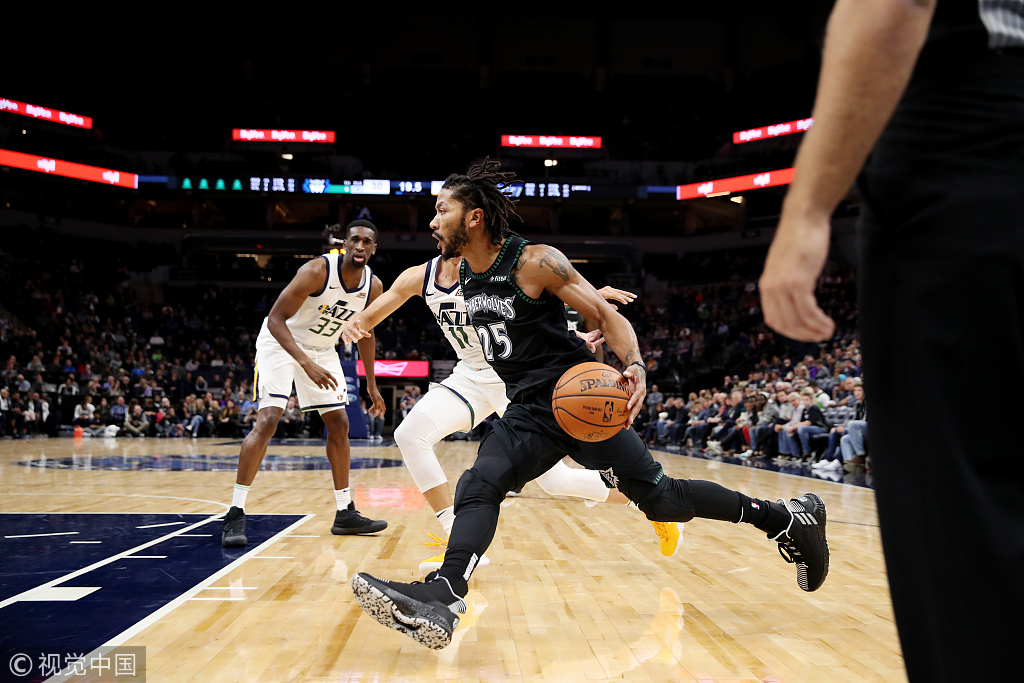 0e47a6a3 Minnesota Timberwolves's Derrick Rose drives to the basket during the game  against the Utah Jazz at Target Center in Minneapolis, Minnesota, on Oct  31, ...