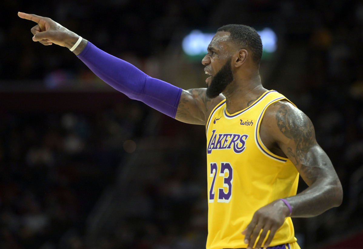 d8e8d02340cb Los Angeles Lakers forward LeBron James (23) reacts in the second quarter  against the Cleveland Cavaliers at Quicken Loans Arena in Cleveland