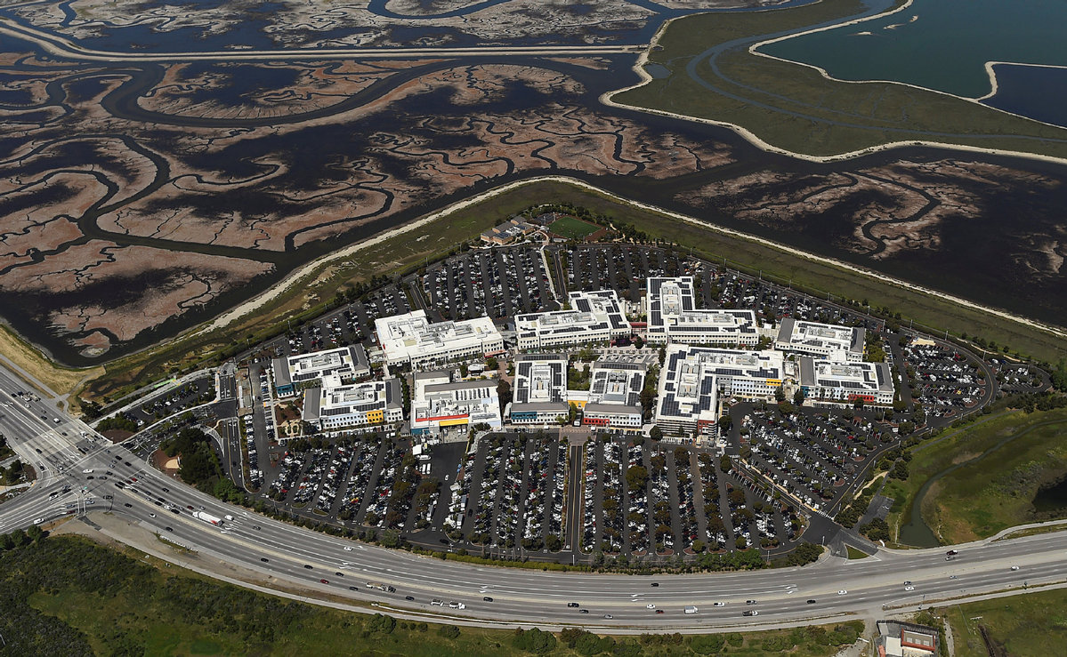 The Facebook campus is shown in this aerial