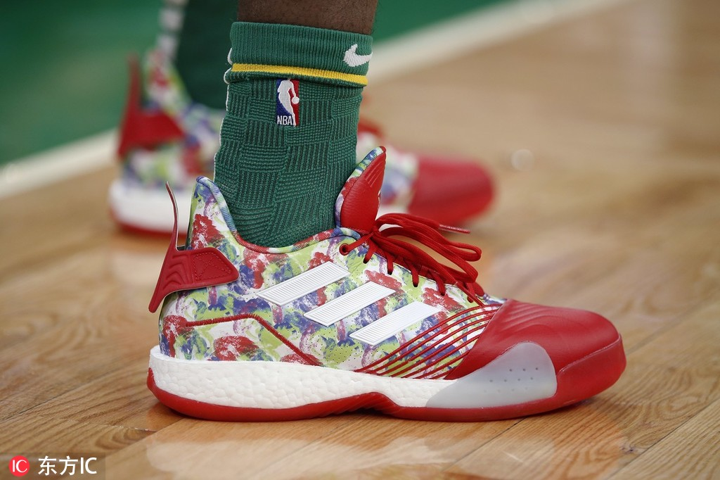 835e86401d6 Boston Celtics  Jaylen Brown shoes on the court during the first half of an  NBA basketball game against the Philadelphia 76ers in Boston