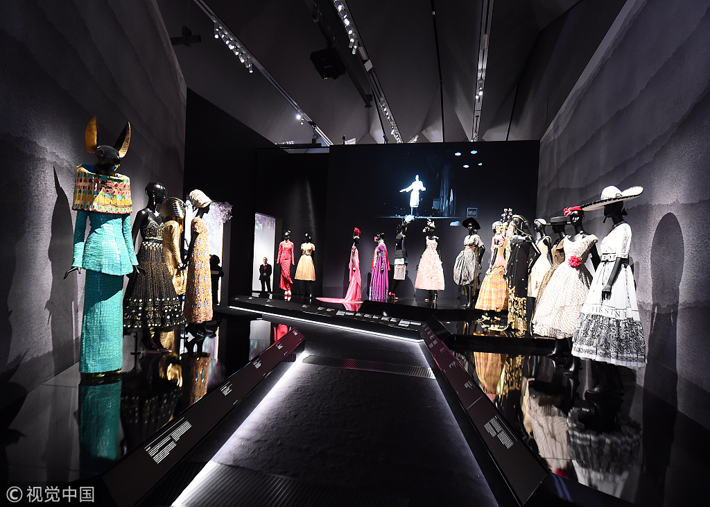 236da637dfc2 Designer pieces on display during the  Christian Dior  Designer of Dreams   exhibition at Victoria   Albert Museum on Jan 30