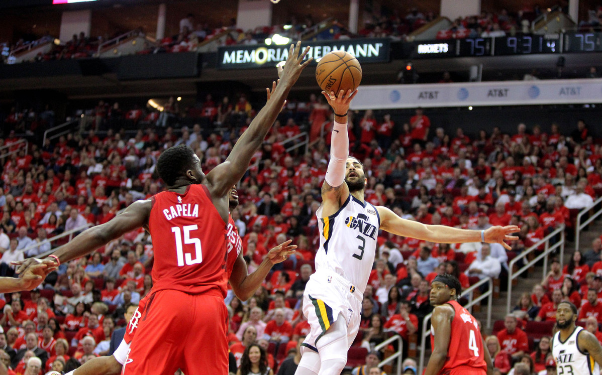 6db1c74713a Houston Rockets center Clint Capela (15) blocks a shot attempt by Utah Jazz  guard Ricky Rubio (3) during the fourth quarter in game five of the first  round ...