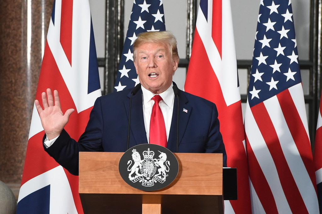 President Trump speaks at a joint press conference in London on Tuesday