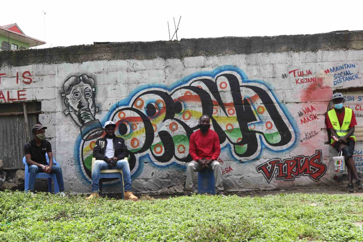 Kenyan Youth Groups Use Graffiti To Spread Corona Message Chinadaily Com Cn