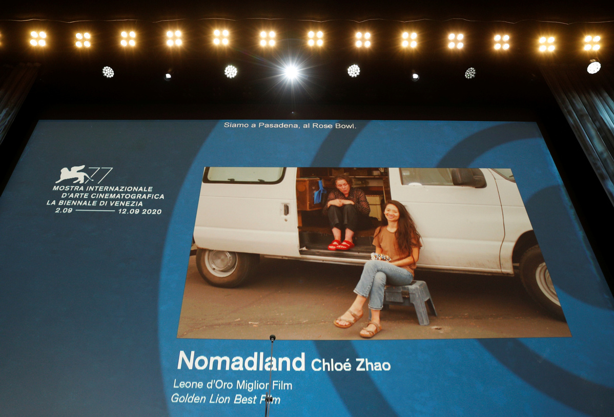 'Nomadland' wins top prize at masked and distanced Venice film festival