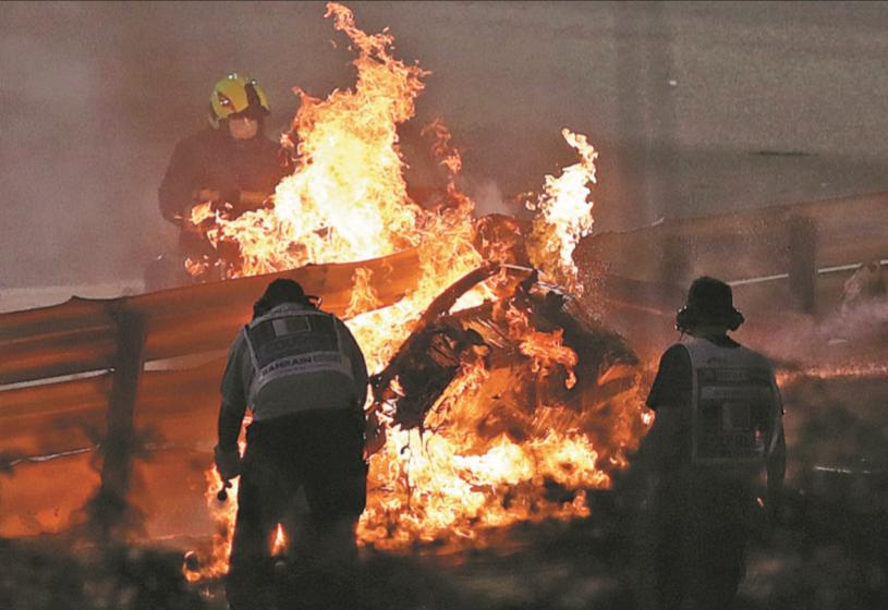 Grosjean determined to end F1 career in Abu Dhabi despite burns