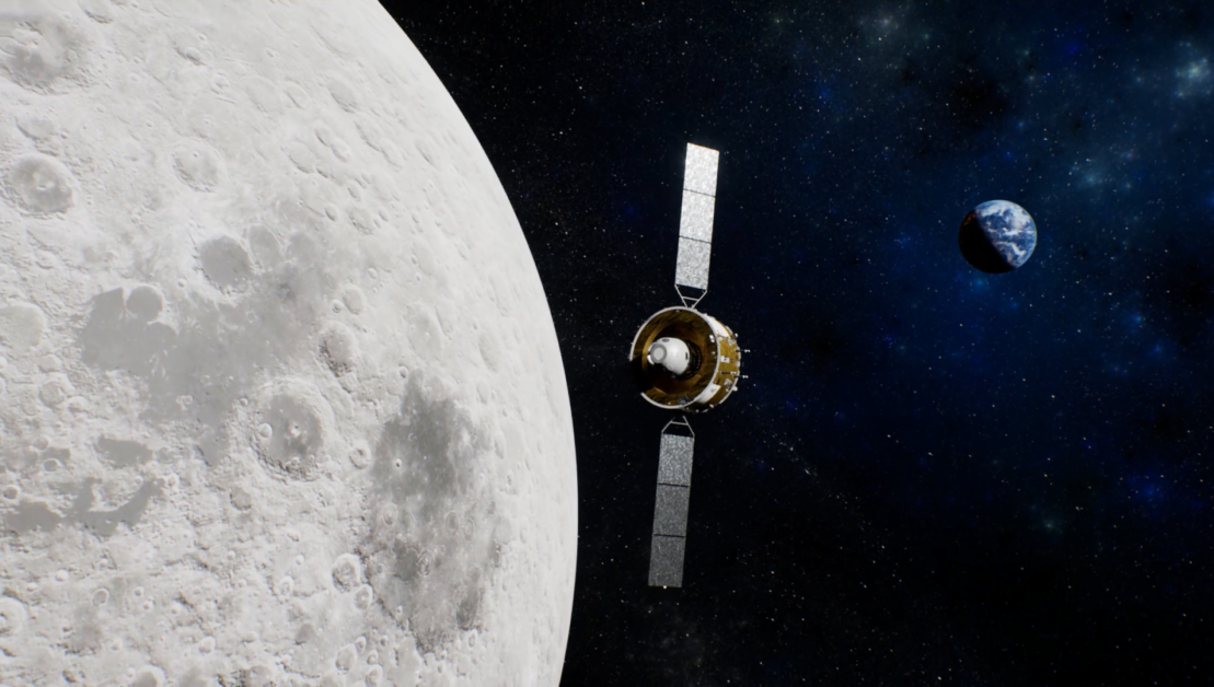 An illustration shows the orbital transfer injection by Chang'e 5's orbiter-reentry capsule combination